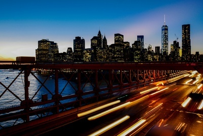 A Long-Exposure Shot of Light Trails on the Freeway with the