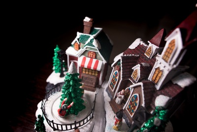 A Model of the Christmas Holiday Replete with Church, Christmas Tree,
