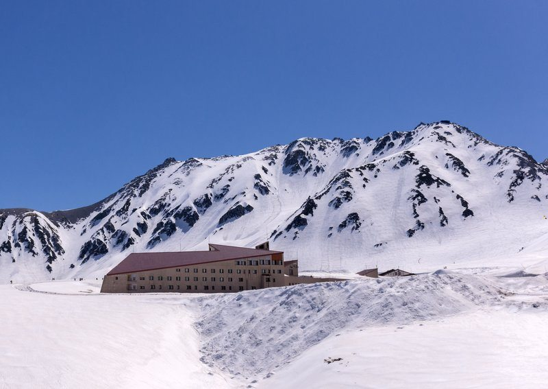 Alpine Hotel On Snowy Mountainside