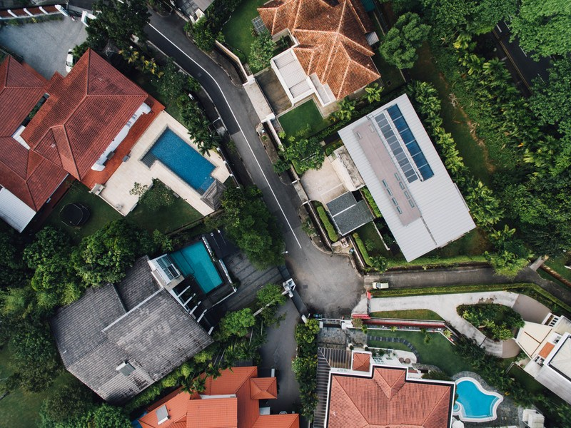 Bird's Eye View of Concrete Houses And Street