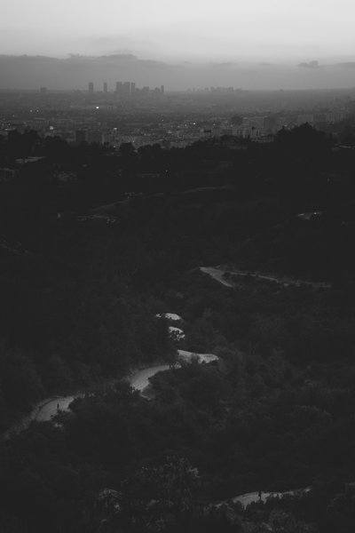Black And White Landscape With City In The Distance