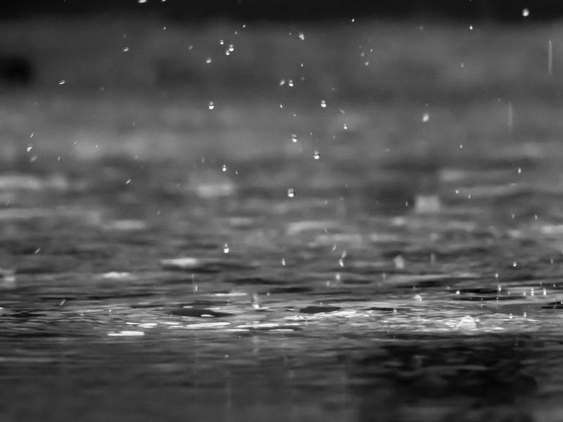 Black & White Photography of Raindrops