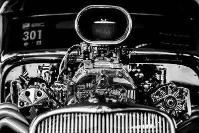 Black & White Photography of Vintage Car Engine