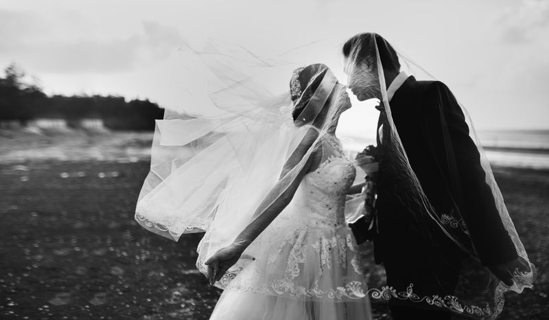 Black & White Shot of Bride And Groom