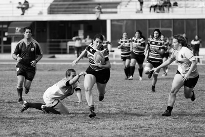 Black & White  Women Playing Rugby Football