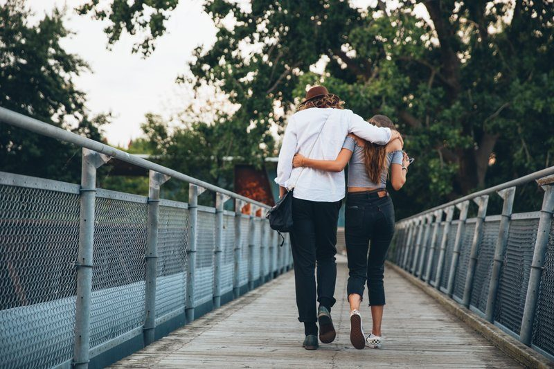 Couple Walk & Hug