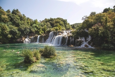 Landscape  Waterfalls Flowing into River