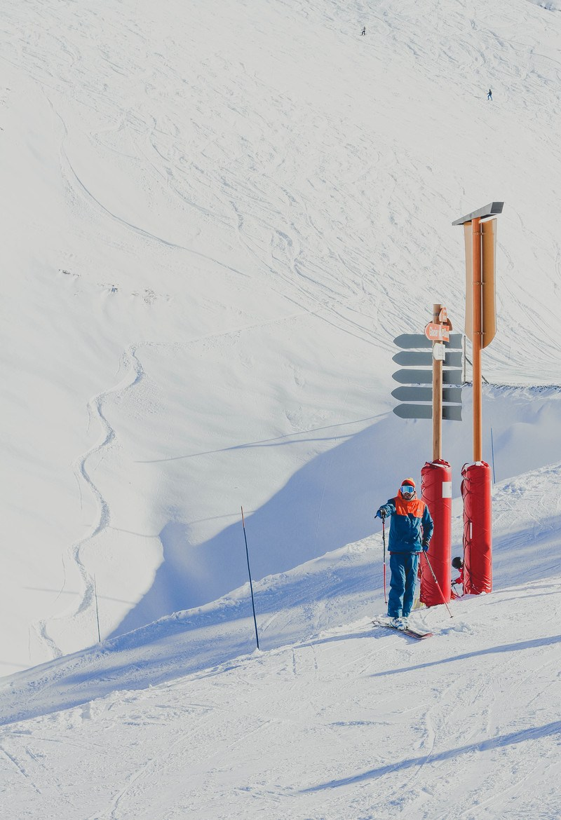 Man in Blue Jacket Holding Ski Poles Standing Near Red And