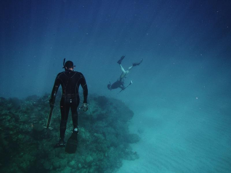 Men Freediving on Coral Reefs