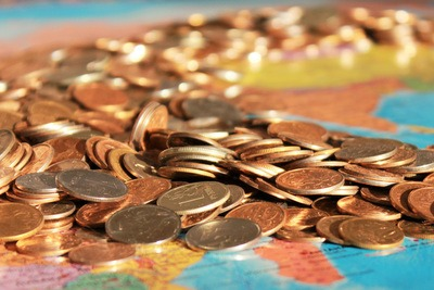 Money Coins on Map