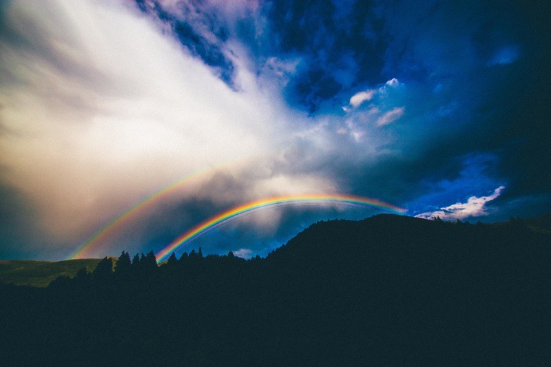 Rainbow Over Mountain Illustration