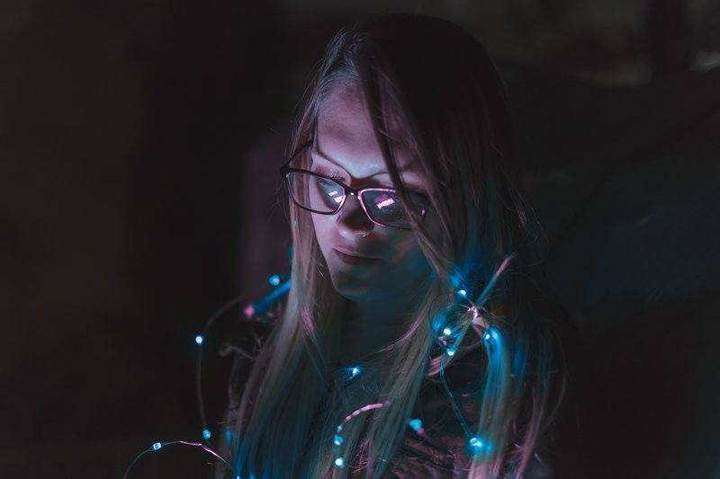Woman With Blue Lights