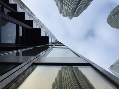 Worm's Eye View of High-Rise Building